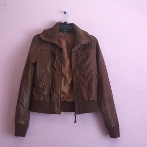 Brown leather jacket.